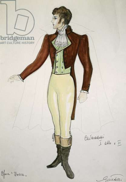 Costume sketch by G Metelli for role of Cavaradossi in first and second act of opera Tosca, by Giacomo Puccini (1858-1924), performed at San Carlo Theatre in Naples