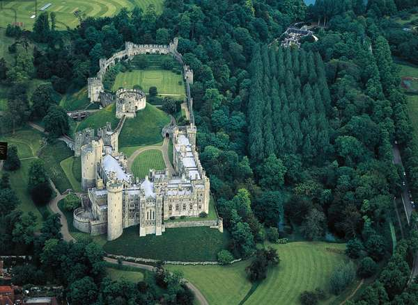Aerial View of Arundel Castle, medieval and restored in 18th-19th century, Sussex, England, United Kingdom