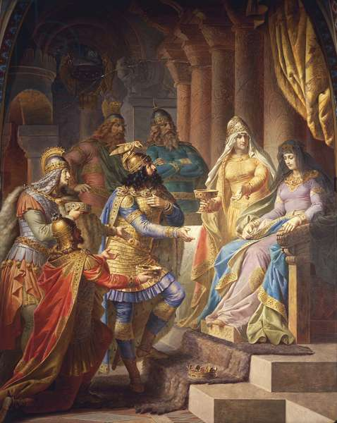Gudrun consents to marry Attila, King of the Huns, from the Gudrun Saga, Upper Hall, c.1883-84 (mural)