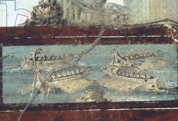 Italy, Campagna, Pompeii, Fresco depicting naval battle, 1st century