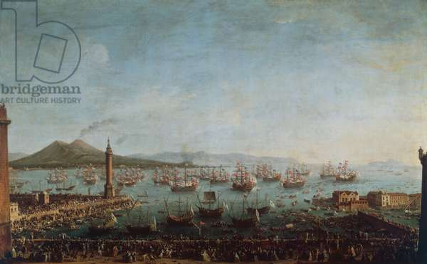 Charles III departing from Naples, 1750, painting by Antonio Joli, 18th century