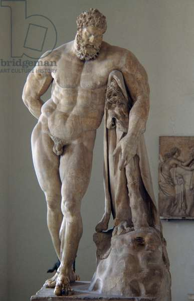 Marble statue of Farnese Hercules, height 317 cm, Roman copy, signed by Glykon, from a 4th century back bronze original by Lysippos. Roman civilization, 3rd century AD