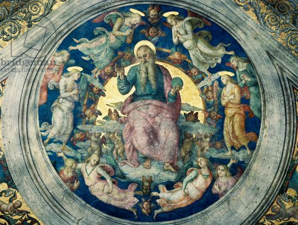 The Eternal Father enthroned with angels and cherubs, medallion, ceiling of the Stanza dell'Incendio di Borgo (The Room of the Fire in the Borgo), Vatican City