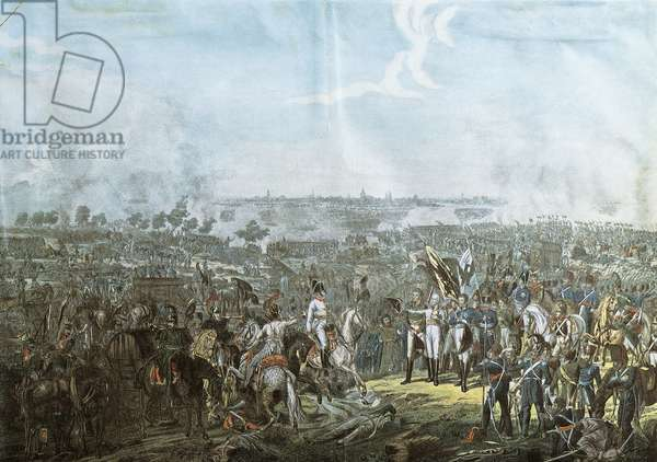 Battle of Leipzig, known as Battle of Nations, Prince Schwarzenberg bringing news of victory to allied sovereigns on evening of October 19, 1813, color etching, Napoleonic Wars, Germany, 19th century