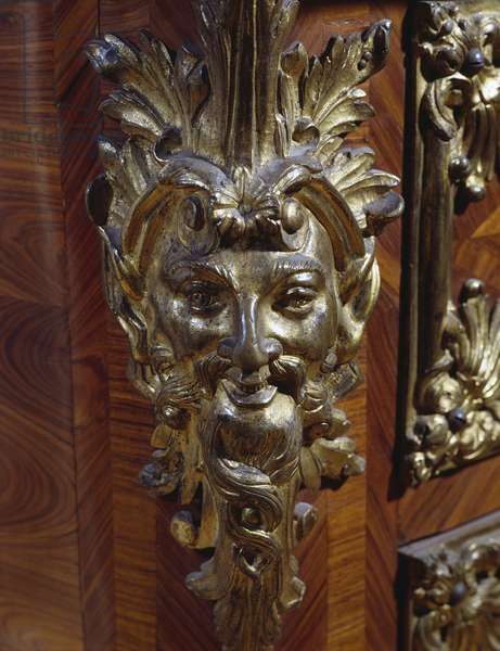 Bronze frieze, detail from commode attributed to Andre-Charles Boulle (1642-1732), ca 1715, France, 18th century