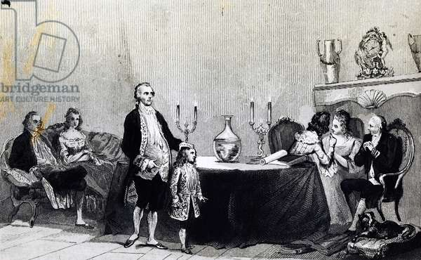 Magic session of Count Alessandro of Cagliostro (pseudonym Giuseppe Balsamo, 1743-1795), Italian alchemist and occultist, engraving, France, 18th century