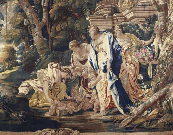 The Finding of Moses, 17th century tapestry based on cartoons by Simon Vouet (1590-1649), manufacture of Paris, from the series Stories of the Old Testament.
