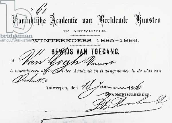 Registration certificate of Dutch painter Vincent Van Gogh (1853-1890), Royal Academy of Fine Arts, 1885, Antwerp, Belgium. 19th century.