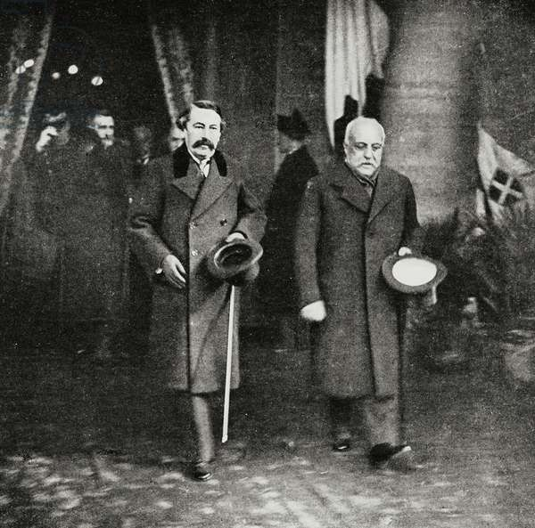 French ministers Leon Bourgeois (1851-1925) and Aristide Briand (1862-1932) leaving station of Rome, Italo-French conference of February 1916, Rome, Italy, photo by Ferri from L'Illustrazione Italiana, Year XLIII, No 8, February 20, 1916