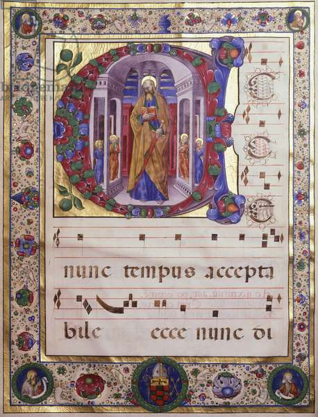 Miniature from a medieval choral, 14th Century.