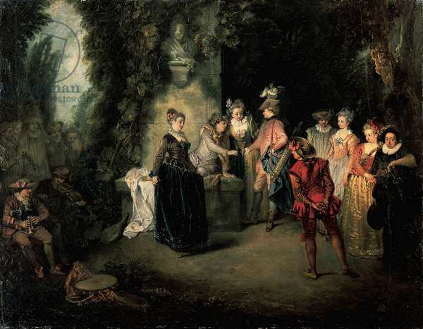 Love in French Theatre by Jean-Antoine Watteau (1684-1721), oil on canvas, 37x48 cm, 1716