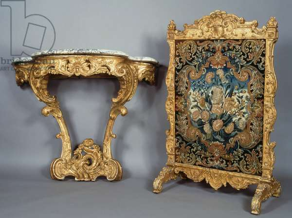 Louis XV style console and fireguard for fireplace, France, 18th century