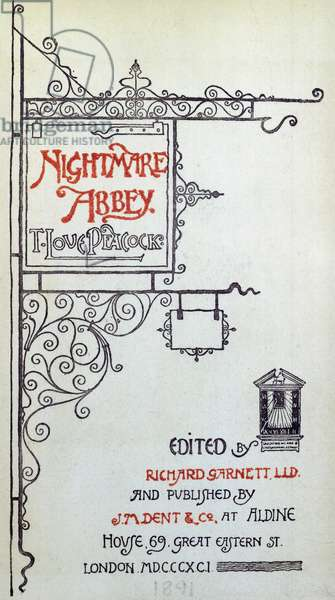 Title page of Nightmare Abbey, by Thomas Love Peacock (1785-1866), engraving, 1891