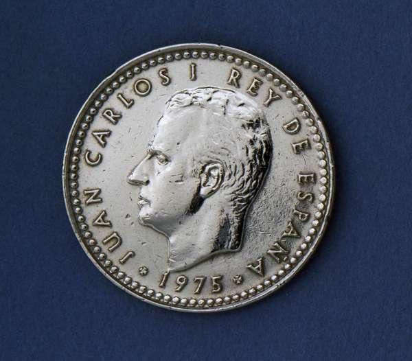 1 peseta coin, 1975, obverse, Juan Carlos I (1938-), Spain, 20th century