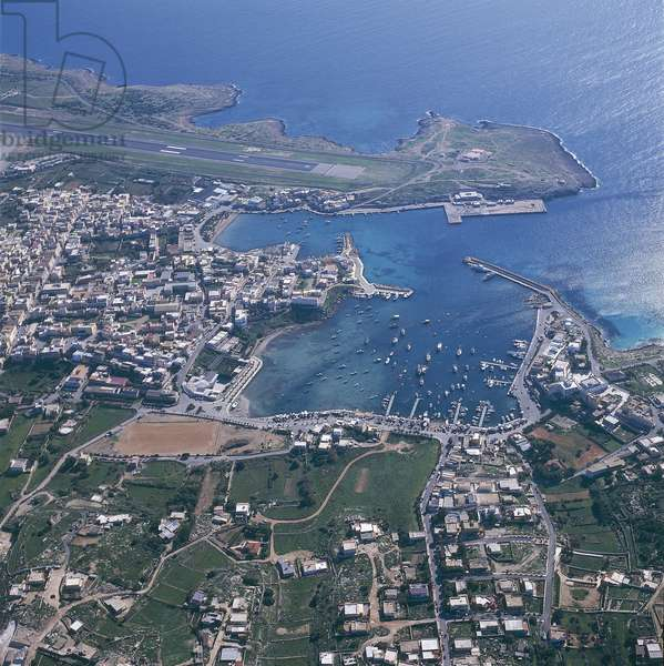 Aerial view of a cityscape, Pelagie Islands, Lampedusa, Sicily, Italy (photo)