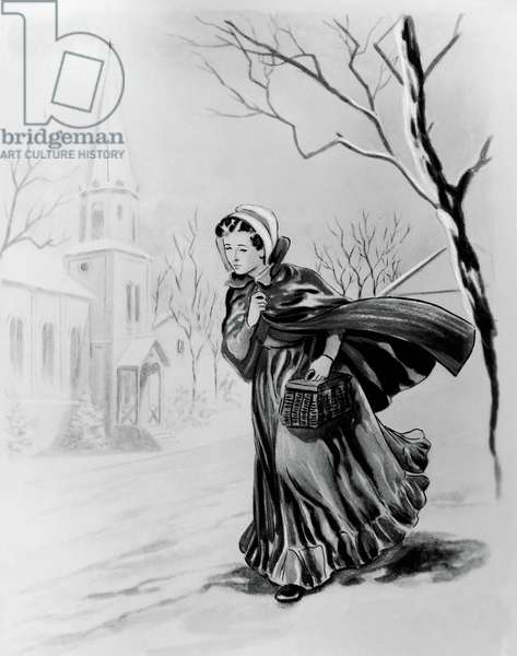 Girl walking in the snow, illustration for Little Women, Turin, 1952