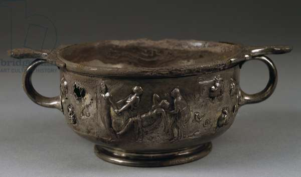 Embossed silver cup found in House of Menander in Pompeii, Campania, Italy, Roman Civilization, 1st century