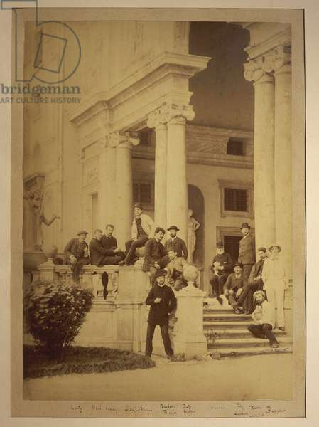 France, Saint-Germain-en-Laye, Claude Achille Debussy with friends at Villa Medici, seat of French Academy in Rome