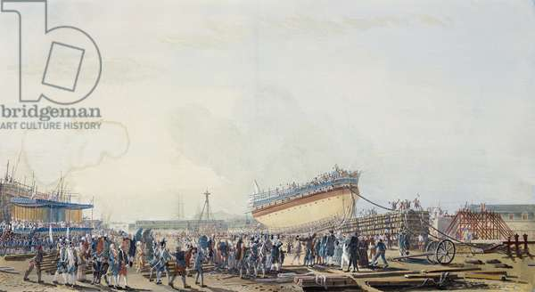Delivery of ship Canton in Toulon, in presence of Count of Provence, brother of Louis XVI, in July 1777, by Michael de Toulon, France, 18th century