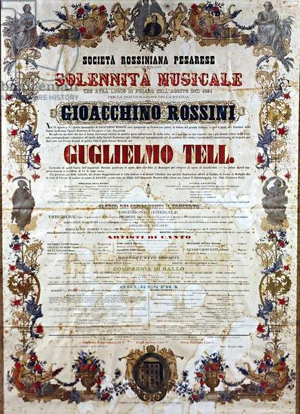 Playbill for Guillaume Tell, the opera by Gioachino Rossini, c.1864 (color litho)