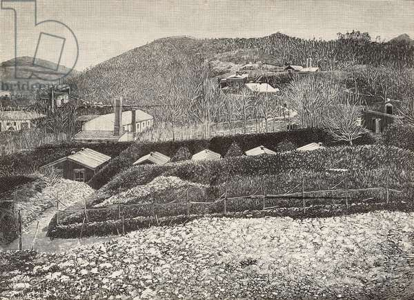Dynamite factory of Alfred Nobel (1833-1896), Swedish engineer and chemist, Avigliana, Italy, engraving by Romagnoli from L'Illustrazione Italiana, year 12, no 50, December 13, 1885