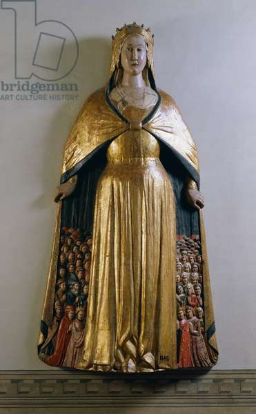 Virgin of Mercy, polychrome wood statue, Italy, end of 14th century