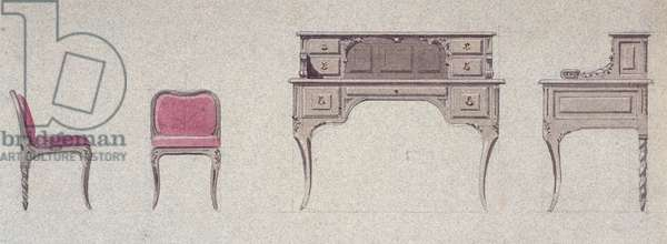 Low back chair and writing desk for Golden Room, 1875, by Eugene-Emmanuel Viollet-Le-Duc (1814-1879), watercolor drawing, France, 19th century