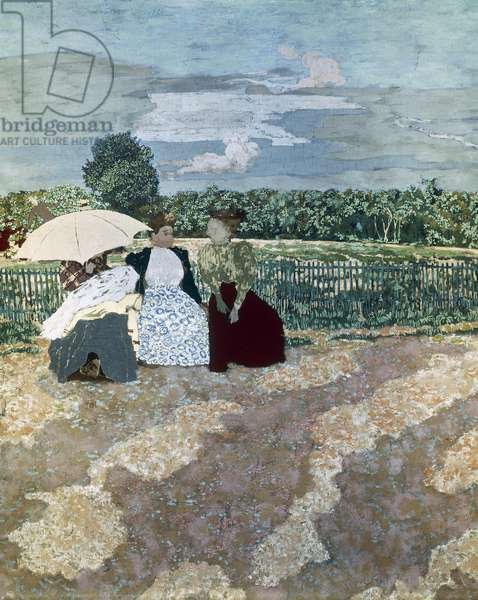 Nurses in the public gardens, 1894, by Edouard Vuillard (1868-1940), part of a work divided into nine panels, oil on canvas.
