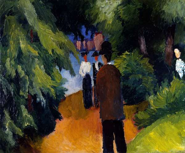 Park with pond, 1913, by August Macke (1887-1914), oil on canvas, 44x54 cm
