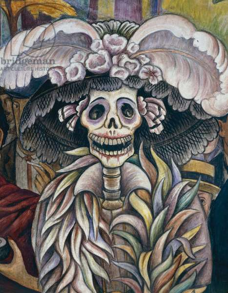 Death, detail from Dream of a Sunday afternoon at the Alameda Park, 1947, by Diego Rivera (1886-1957), from the Hotel del Prado fresco. Mexico, 20th century.