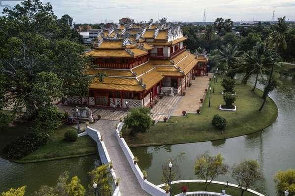 Phra Thinang Wehat Chamrun, 1889, Summer Palace of King Rama V, 17th-19th century, on banks of Chao Phraya river, Ayutthaya, Thailand