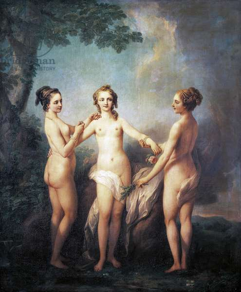 Three graces or de Nesle Mesdemoiselles, three favorite sisters of King Louis XV, by Charles-Andre Van Loo (1705-65). Chateau de Chenonceaux (UNESCO World Heritage Site, 2000), France