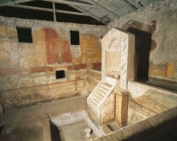 Italy, Campania, Pompeii, House of Centenary, Fountain decorated with scenes of hunting and fish hatchery