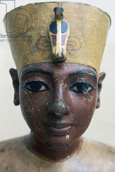 Head of Tutankhamun in painted wood, from Tomb of Tutankhamun, Egyptian civilization, Dynasty XVIII