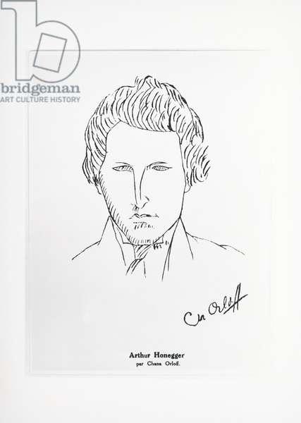 Portrait of Arthur Honegger (Le Havre, 1892-Paris, 1955), drawing by Orloff Chana (1888-1968). 20th century.