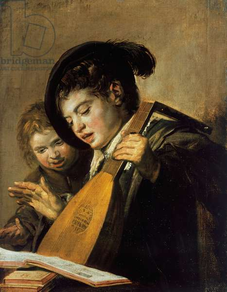 Two boys singing, 1626, lute player, by Frans Hals (1580-1666), oil on canvas, 62x54 cm, Netherlands, 17th century