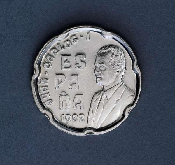 50 pesetas coin, 1992, obverse, Juan Carlos I (1938-), Spain, 20th century