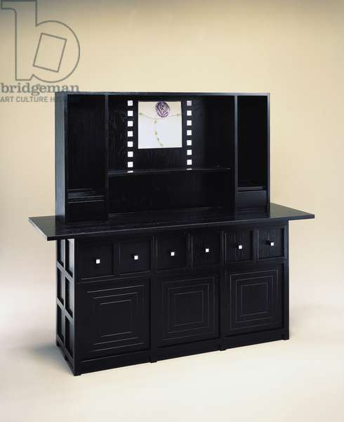 Welsh dresser, 1918 by Charles Rennie Mackintosh (1868-1928), black stained wood with mother of pearl and colored glass inlays, produced by Cassina, United Kingdom, 20th century