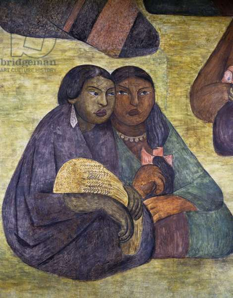 Peasants, by Diego Rivera (1886-1957), 1928, detail from the Ministry of Education frescoes (1923-1928), Mexico City. Mexico, 20th century.