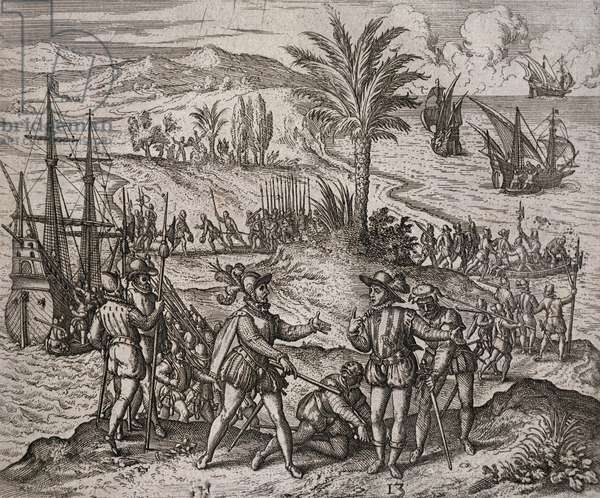 The arrest of Christopher and Bartholomew Columbus by order of Francisco de Bodadilla, 1500, engraving by Theodor de Bry (1528-1598)