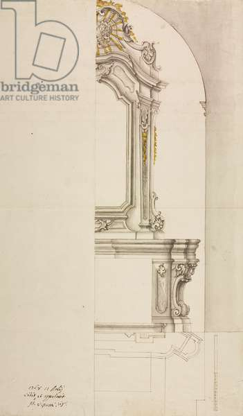 Design for altar dedicated to Blessed Virgin Mary of Carmel, parish church of Montevecchia, parish of Missaglia, July 13, 1768, Cardinal Giuseppe Pozzobonelli, elevation drawing, Italy, 18th century