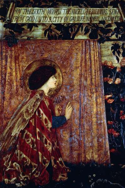 Annunciation, detail of the triptych The Annunciation and the Adoration of the Magi, 1861, by Edward Burne-Jones (1833-1898), oil on canvas. United Kingdom, 19th century.