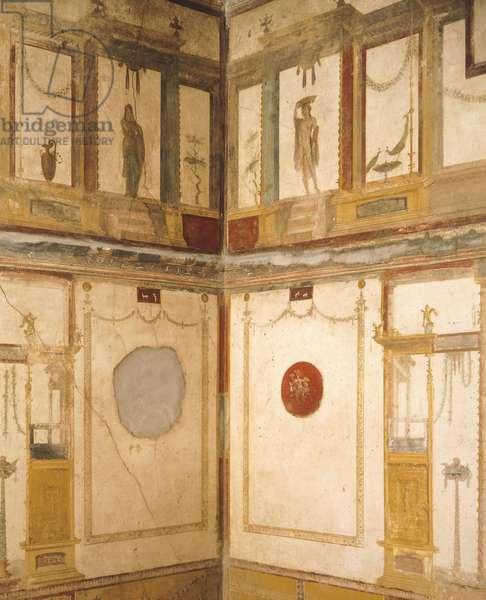 Detail of frescoes decorating room, House of Vettii, Pompeii , Campania, Roman Civilization, 1st Century