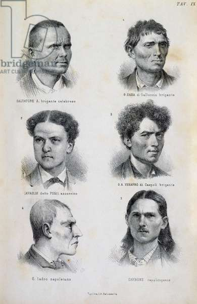 Examples of physiognomy of criminals, illustration from L'uomo delinquente (Thug man), 1876, by Cesare Lombroso (1835-1909), published by Hoepli, Milan, Italy