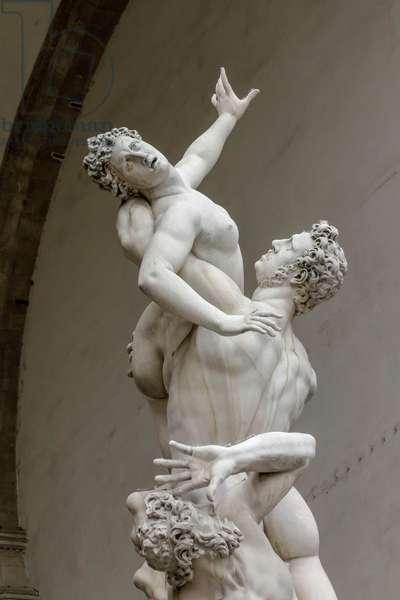 Rape of Sabine women, 1583, statue by Giambologna (1529-1608), Loggia dei Lanzi, Piazza della Signoria, Florence (UNESCO World Heritage List, 1982), Tuscany, Italy, Detail