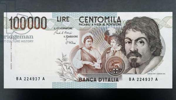 100000 lire banknote, Caravaggio first type, 1983-1994, reverse, Michelangelo Merisi da Caravaggio (1571-1610), 15.6x7.9 cm, Italy, 20th century