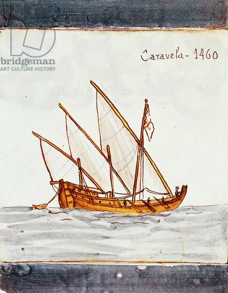 Fifteenth-century caravel, azulejos tile decoration (Portuguese painted, tin-glazed, ceramic tilework) from Sagres, Portugal
