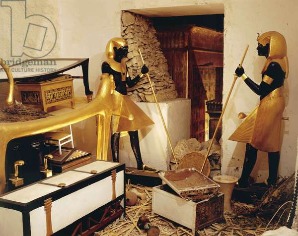 Replica of antechamber with royal ka of Horakhty guarding entrance to sarcophagus chamber, from King Tutankhamen's tomb