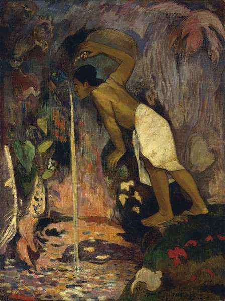 Tahiti, oil on canvas, painting of Papa Moe or Tahitian woman drinking at a spring