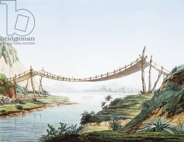 Rope bridge over the Chambo River at Penipe, Ecuador, engraving from Views of the cordilleras and monuments of the indigenous peoples of the Americas, by Alexander von Humboldt (1769-1859), Paris, 1810, South America, 19th century